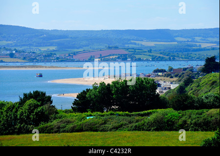 A view of Exmouth beach from the Jurrasic coast cliffs - River Exe - Devon - UK - Stock Photo