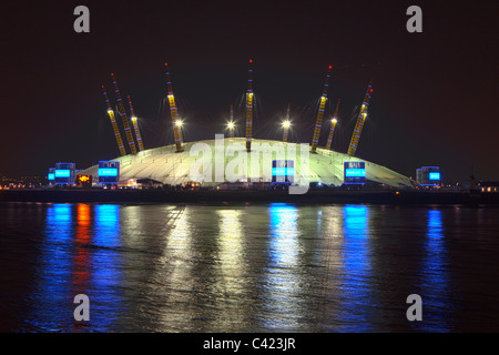 Millennium Dome at night from Isle of Dogs - Stock Photo