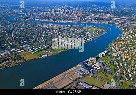 Aerial view of Portside Wharf precinct Hamilton Brisbane - Stock Photo