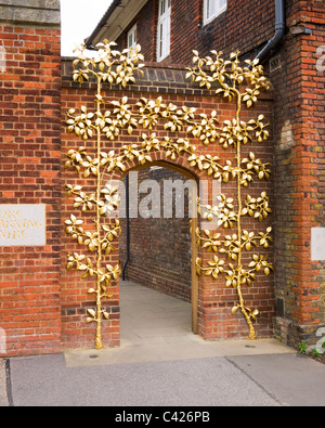 Entrance gate to Clore Learning Centre at Hampton Court Palace, London, England - Stock Photo