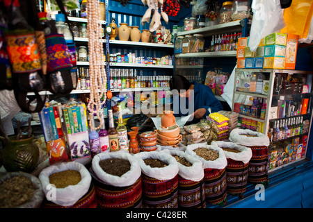 Peru, Cusco, Cuzco. Market, selling natural healing products. - Stock Photo