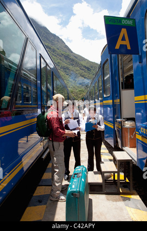 Peru, Aguas Calientes, Machu Picchu, Train from Ollantaytambo to Aguas Calientes. - Stock Photo