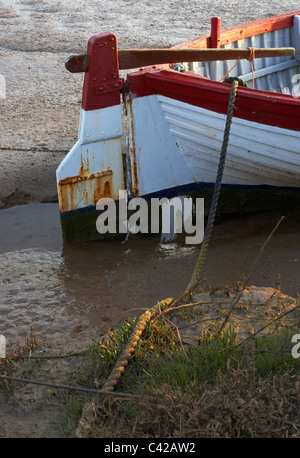 A study of a boat at Thornham Creek in North Norfolk, England - Stock Photo