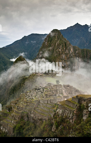 Peru, Aguas Calientes, Machu Picchu.15th-century Inca site located 2,430 metres (7,970 ft) above sea level. - Stock Photo