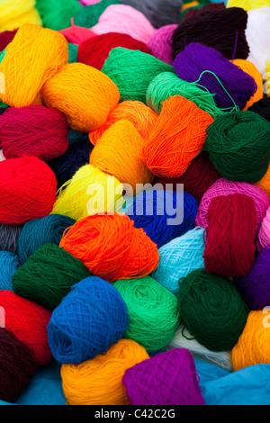 Peru, Huancarani, Wool for sale on market. - Stock Photo