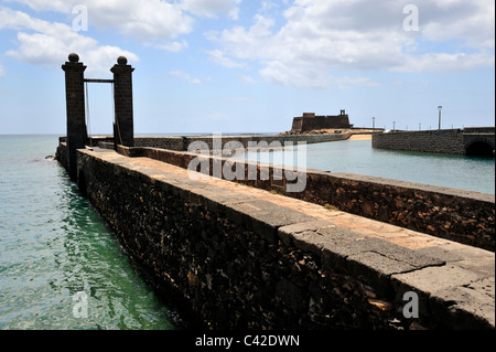 Puente de las Bolas drawbridge to Castle San Gabriel an Archaeological Museum, Arrecife, Lanzarote, 'Canary Islands', - Stock Photo