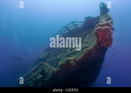 Scuba divers on one of the 'New Wrecks' off Puerto del Carmen, Lanzarote - Stock Photo