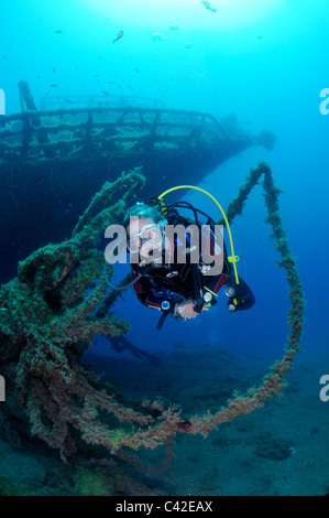 Woman Scuba diver on one of the 'New Wrecks' off Puerto del Carmen, Lanzarote - Stock Photo