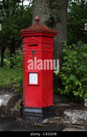 Hexagonal Post Box at Buxton in Derbyshire - Stock Photo