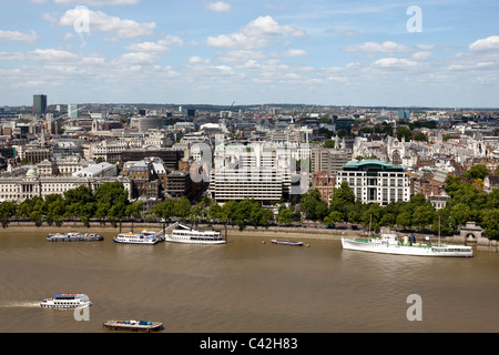 Aerial view of London from the Southbank, looking North towards HMS Wellington moored on the Victoria Embankment, - Stock Photo