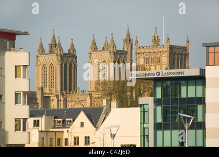 Bristol cathedral behind modern buildings, view from harbourside, Bristol, England, UK - Stock Photo