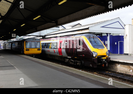 cross country super voyager 221 125 Henry the Navigator train waiting to depart from paignton station devon england - Stock Photo