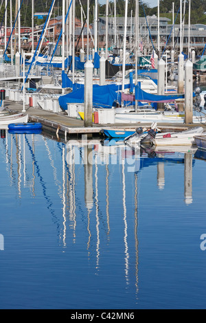 Monterey Bay Marina with Fisherman's Wharf in background - Stock Photo