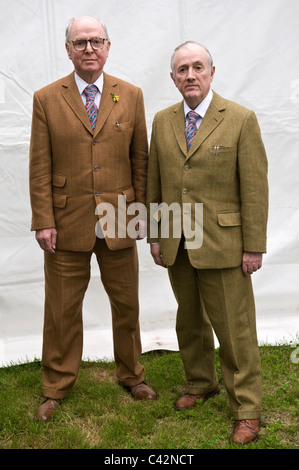 Gilbert and George artists pictured at Hay Festival 2011 - Stock Photo