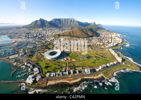 Aerial view of the city of Cape Town, South Africa. - Stock Photo