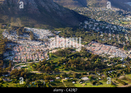 Aerial view of Imizamo Yethu township (aka Mandela Park) in Hout Bay in Cape Town, South Africa.