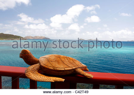 French West Indies, Guadeloupe, Saint Barthelemy, statue of a turtle - Stock Photo
