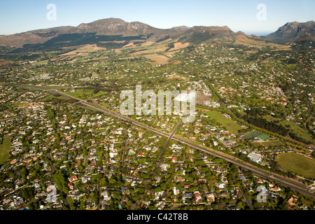 Aerial view of Cape Town's southern suburbs including Constantia, Meadowridge and Plumstead. - Stock Photo