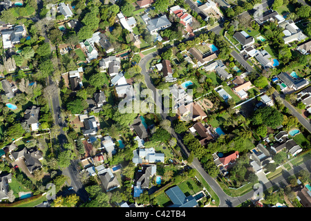 Aerial view of suburban Cape Town showing houses in the suburbs of Constantia and Plumstead. - Stock Photo