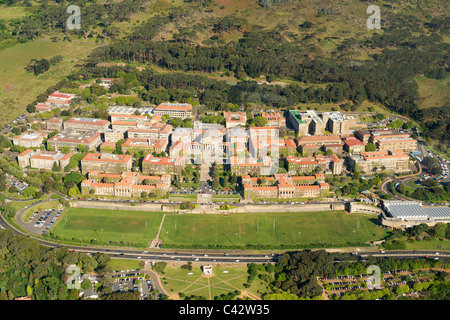 Aerial view of the University of Cape Town on the slopes of Devil's Peak in South Africa. - Stock Photo