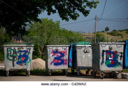 rubbish bin waste trash - Stock Photo