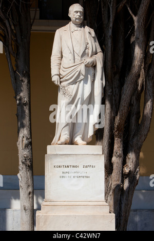 Statue of the Greek entrepreneur Konstantinos Zappas (1814-1892) in front of the Zappeion in Athens, Greece - Stock Photo