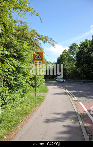 a school warning road sign in cirencester,gloucestershire,uk - Stock Photo