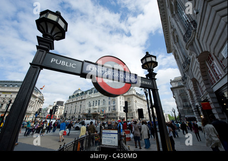 Entrance to Piccadilly Circus Underground station. (Editorial use only). - Stock Photo