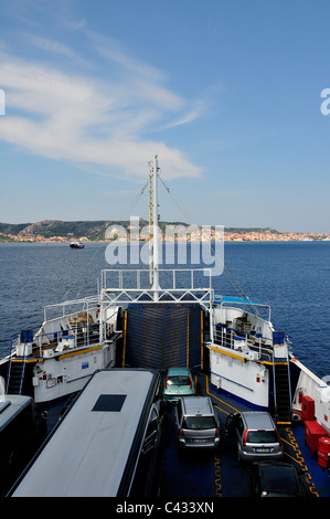 Car and passenger ferry crossing from Palau to La Maddalena (in view) Sardinia, Italy - Stock Photo