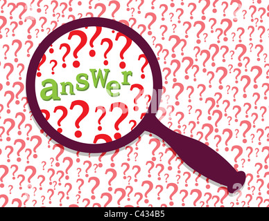 Question marks and word 'answer' under magnifier glass. Abstract information searching metaphor illustration. - Stock Photo