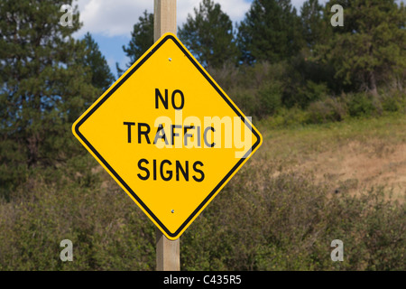 Sign for 'No Traffic Signs' Palouse Washington USA - Stock Photo