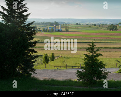 view of farms, Pennsylvania Dutch country, Lancaster County, PA, USA - Stock Photo