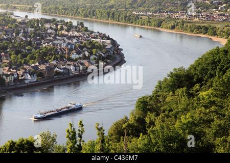 Fortress Ehrenbreitstein above Rhine river in Koblenz, Germany - Stock Photo
