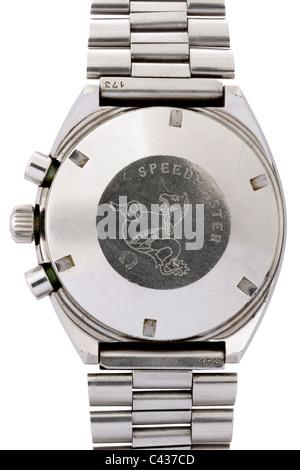 Back of Omega Speedmaster Professional Mark II stainless steel Swiss chronograph wrist watch JMH4891 - Stock Photo