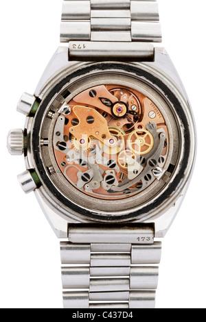 Interior works of Omega Speedmaster Professional Mark II stainless steel Swiss chronograph wrist watch  JMH4892 - Stock Photo