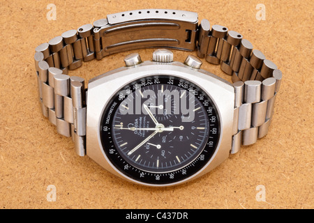 Omega Speedmaster Professional Mark II stainless steel Swiss chronograph wrist watch with black dial and white hands - Stock Photo