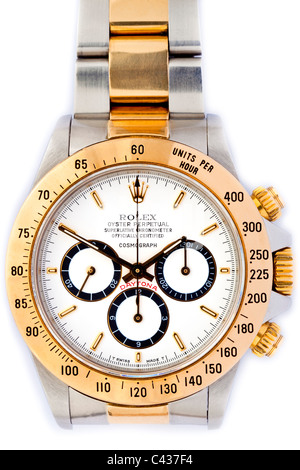 Rolex Daytona Cosmograph Oyster Perpetual Chronometer 18k gold and steel Swiss chronograph wrist watch with white - Stock Photo