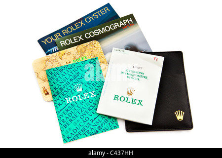 Papers for Rolex Daytona Cosmograph Oyster Perpetual Chronometer wrist watch JMH4905 - Stock Photo