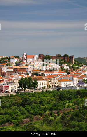 View of hillside town and castle, Silves, Silves Municipality, Faro District, Algarve Region, Portugal - Stock Photo