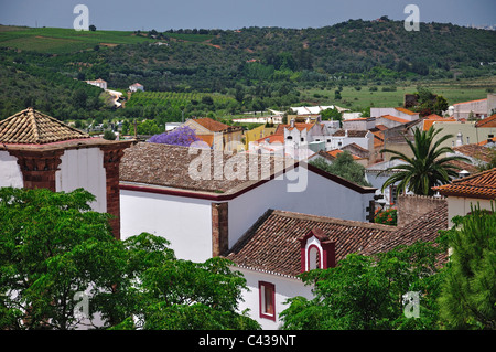View of town from Castle walls, Silves, Silves Municipality, Faro District, Algarve Region, Portugal - Stock Photo