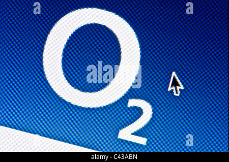 Close up of the O2 logo as seen on its website. (Editorial use only: ­print, TV, e-book and editorial website). - Stock Photo