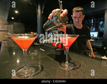 Cocktails drinks in the bar of Malmaison Hotel, Belfast, Northern Ireland. - Stock Photo