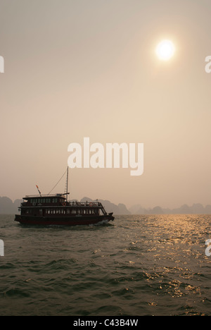 junk boat on halong bay in vietnam - Stock Photo