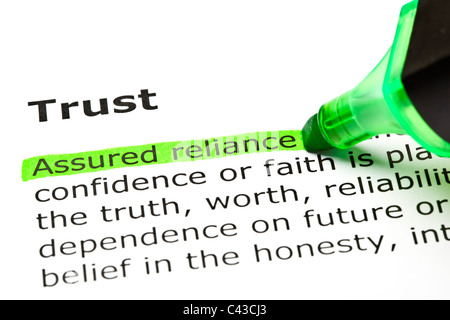 'Assured reliance' highlighted in green, under the heading 'Trust' - Stock Photo
