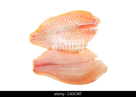 Red snapper fish fillets isolated on white - Stock Photo