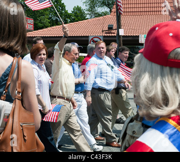 New York City Council Speaker Christine C. Quinn, left of Mayor Bloomberg, in Little Neck Memorial Day Parade, May - Stock Photo