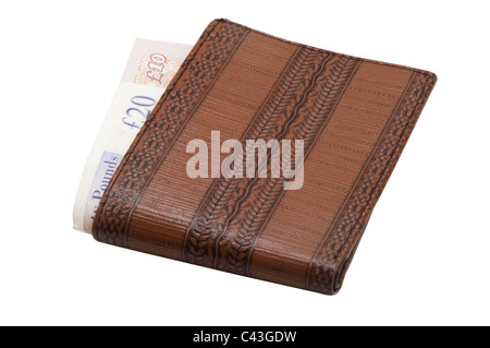 Wallet with UK bank notes - ten and twenty pounds, in white background - Stock Photo