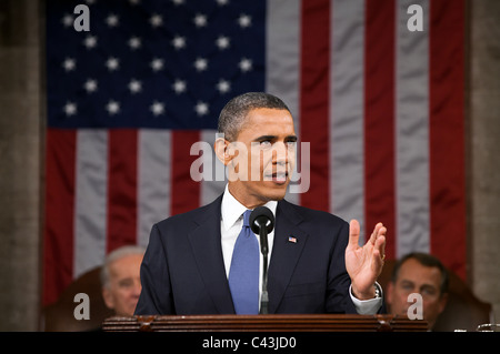 President Barack Obama delivers his State of the Union address in the House Chamber at the U.S. Capitol in Washington, - Stock Photo