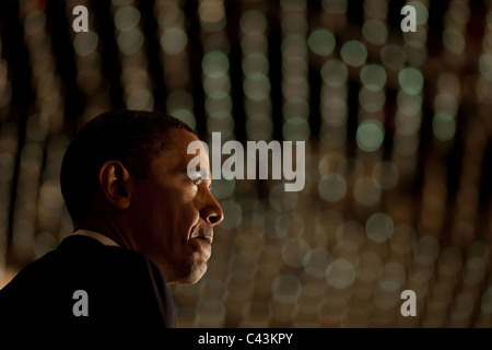 President Barack Obama delivers remarks at a fundraiser for Bill Owens - Stock Photo