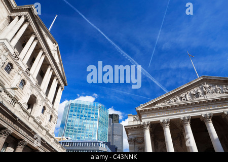 The Bank of England, The Royal Exchange, Tower 42, The City; London; England - Stock Photo